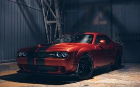 Картинка Dodge Challenger, muscle car, Hellcat, Dodge Challenger SRT Hellcat