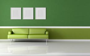Картинка Green, Wallpaper, Room, Interior