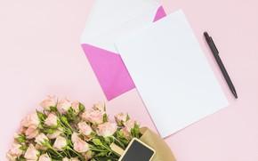 Картинка письмо, розы, букет