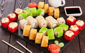 Картинка соус, суши, роллы