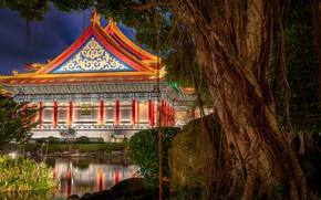 Картинка пруд, дерево, China, здание, Китай, Тайвань, Тайбэй, Taiwan, Taipei, Liberty Square, Национальный концертный зал, Площадь …