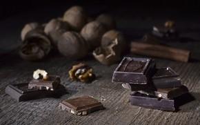 Картинка шоколад, корица, грецкий орех