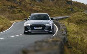 Картинка дорога, Audi, ограждение, универсал, RS 6, 2020, 2019, V8 Twin-Turbo, RS6 Avant, UK-version