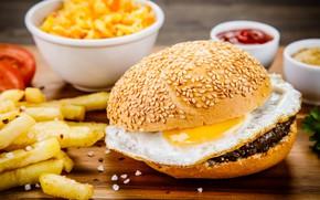 Картинка бутерброд, еда, соус, картофель фри