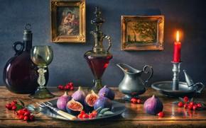 Обои стиль, ягоды, вино, бокал, бутылка, свеча, шиповник, картины, натюрморт, подсвечник, графин, инжир, фиги