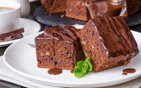Картинка пирог, орехи, шоколадный, глазурь, грецкие, брауни
