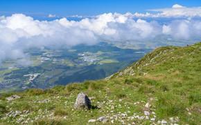 Картинка Природа, Облака, Горы, Город, Япония, Камни, Пейзаж