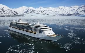 Картинка Зима, Океан, Море, Горы, Лайнер, Лед, Судно, Royal Caribbean International, Пассажирское судно, Cruise Ship, Passenger ...