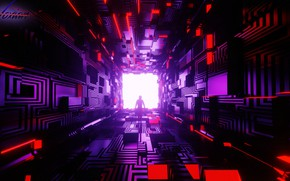 Картинка комната, тоннель, куб, рендер, cyberpunk, Tsotne Kharshiladze, фигуры, силуэт, геометрия, sci-fi, киберпанк, коридор