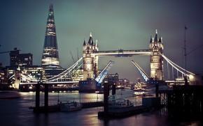 Картинка ночь, огни, Англия, Лондон, Тауэрский мост