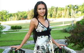 Картинка sky, hot girl, nature, park, bushes, outside, green grass, countryside, exotic, path, posing, lawn, beautiful …