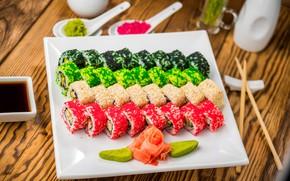Картинка дизайн, стол, тарелка, боке, суши, морепродукты
