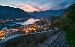 Картинка море, горы, ночь, Черногория, Котор