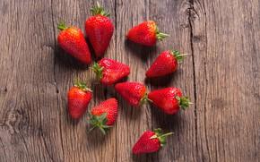Картинка клубника, fresh, wood, sweet, berries, ягоды, красные, спелая, strawberry