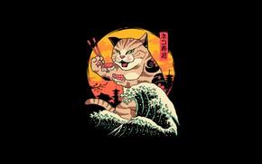 Картинка Минимализм, Япония, Кот, Волна, Стиль, Суши, Фон, Japan, Арт, Art, Еда, Style, Cat, Background, Illustration, …