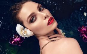Картинка взгляд, вода, девушка, цветы, лицо, модель, губы, орхидея, Patrycja Wieczorek, Agnieszka Golebiewska