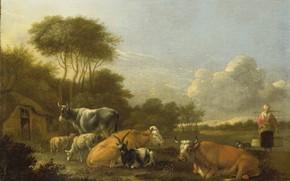 Картинка масло, картина, холст, 1688, Albert Klomp, Альберт Кломп, Пейзаж с крупным рогатым скотом