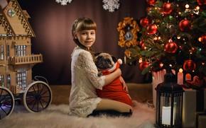 Картинка настроение, собака, Рождество, девочка, фонарь, мопс, Новый год, домик, ёлка, друзья, обнимашки, Георгий Бондаренко