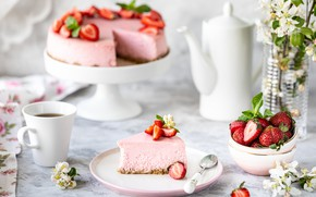 Картинка ягоды, чай, клубника, чашка, торт, Чизкейк