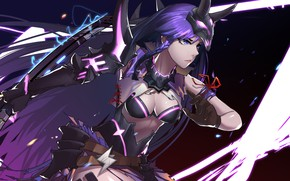 Картинка girl, sword, cleavage, horns, breast, anime, purple eyes, katana, samurai, mask, warrior, chest, purple hair, …