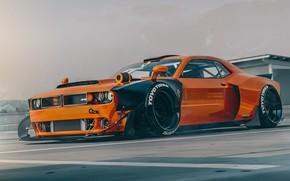 Картинка Машина, Тюнинг, Оранжевый, Dodge, Challenger, Car, Dodge Challenger, Render, Рендеринг, SRT, Demon, Dodge Challenger SRT …