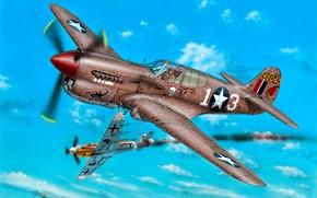 Обои истребитель, Bf.109, WWII, Боевой самолёт, P-40K, 57th Fighter Group, 64th Fighter Squadron, Lt R.Johnson