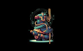 Картинка Fantasy, Art, Robot, Vector, Background, Illustration, Minimalism, Cyberpunk, Virtual Reality, Angga Tantama