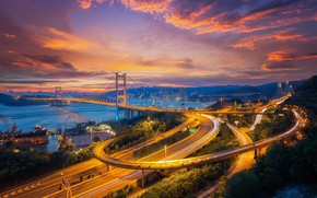Обои город, Китай, дороги, Гонконг, огни