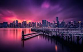 Картинка ночь, город, огни, гладь, США, Нью - Йорк