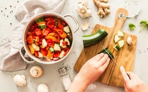 Картинка woman, salad, knife, cooking, cucumbers