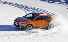 Картинка снег, движение, SUV, Seat, 2017, 4Drive, Ateca