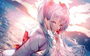 Картинка море, капли, горизонт, кимоно, vocaloid, Hatsune Miku, кленовый лист, вокалоид, голубые волосы, Хатсуне Мику, чёлка, …