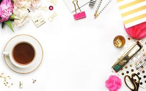 Картинка цветы, кофе, чашка, аксессуары
