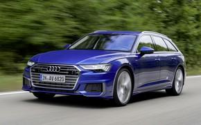 Картинка синий, движение, Audi, 2018, универсал, A6 Avant