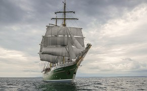 Картинка море, небо, романтика, парусный корабль