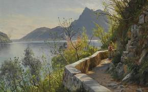 Обои датский живописец, Lake Lugano, 1910, Озеро Лугано, Петер Мёрк Мёнстед, Peder Mørk Mønsted, Danish realist ...