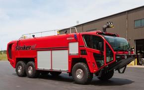 Картинка car, машина, red, красная машина, колёса, пожарная машина, Oshkosh, fire truck, большая машина, Oshkosh Striker …
