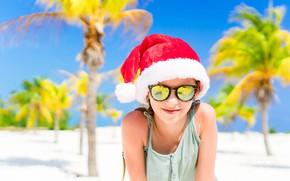 Картинка море, пляж, пальмы, настроение, отдых, берег, побережье, Рождество, девочка, Новый год, курорт, темные очки, лазурное …