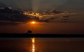 Картинка небо, облака, закат, природа, вечер