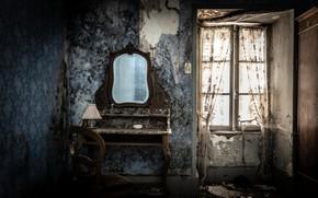 Картинка комната, зеркало, окно, стул