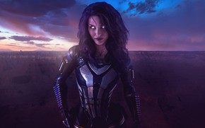 Картинка rock, mass effect, clouds, sun, canyon, malena morgan, suit, armour, tali zorah, rannoch
