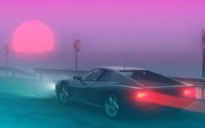 Обои Солнце, Туман, Ferrari, 80s, Neon, Summer, Fog, 80's, Synth, Retrowave, Synthwave, Ferrari Testarossa, New Retro ...