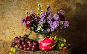 Картинка цветы, яблоки, букет, виноград, фрукты, натюрморт, груши, flowers, fruit, grapes, still life