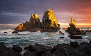 Картинка море, небо, облака, закат, тучи, камни, скалы, берег, горизонт, Австралия, прибой, Сидней