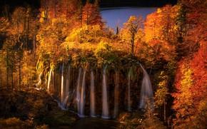 Картинка осень, лес, деревья, озеро, водопад, каскад, Хорватия, Croatia, Plitvice Lakes National Park, Galovac Waterfall, Водопад …