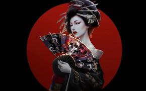 Картинка skull, girl, fantasy, Asian, artwork, black background, fantasy art, dark hair, kimono, simple background, fantasy …