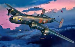 Картинка Великобритания, RAF, четырехдвигательный, Дальний, Handley Page, Halifax B.Mk.III, Тяжелый бомбардировщик, воздушного охлаждения Bristol Hercules XVI