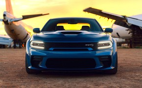 Картинка Dodge, Blue, Front, Charger, Tuning, Muscle car, Hellcat, Custom, SRT
