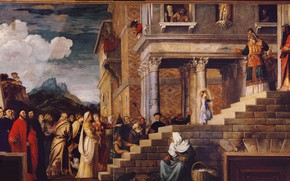Картинка облака, Titian Vecellio, Введение Девы Марии во храм, между 1534 и 1538, приближенная версия, люли
