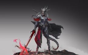 Картинка Girl, Fantasy, Art, Style, Illustration, Sword, Armor, Figure, Character